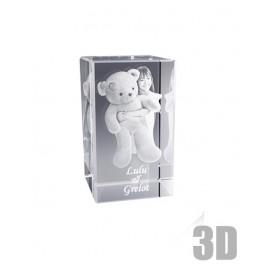 Bloc de verre rectangle 12 cm - Gravure 3D