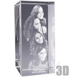 Bloc de verre rectangle 30 cm - Gravure photo 3D