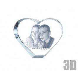 Coeur en verre gravure photo 3D