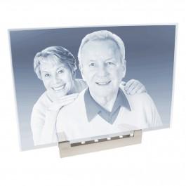 Grande plaque photo laser sur socle lumineux