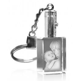 Porte-clés rectangle photo laser lumineux blanc