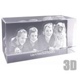 Bloc de verre horizontal photo laser - Gravure 3D