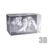 Bloc en verre horizontal photo laser 3D
