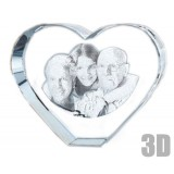 Grand coeur en verre photo laser 3D