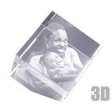 Cube en verre 10 cm sur pan coupé photo laser 3D