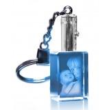 Porte-clés rectangle laser lumineux bleu