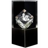 Socle lumineux Deluxe noir cube 10 cm