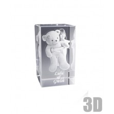 Bloc de verre rectangle 12 cm - Gravure 3D