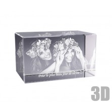 Bloc en verre horizontal photo laser 3D