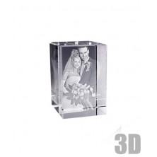 Bloc en verre photo de mariage en 3D