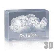 Bloc en verre horizontal photo laser - Gravure 3D