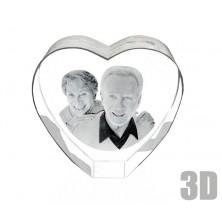 Coeur en verre photo gravure 3D