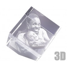 Cube en verre 10 cm sur pan coupé photo laser 3D