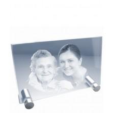Petite plaque photo laser horizontale sur pieds métal