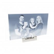 Plaque en verre horizontale photo laser sur socle lumineux